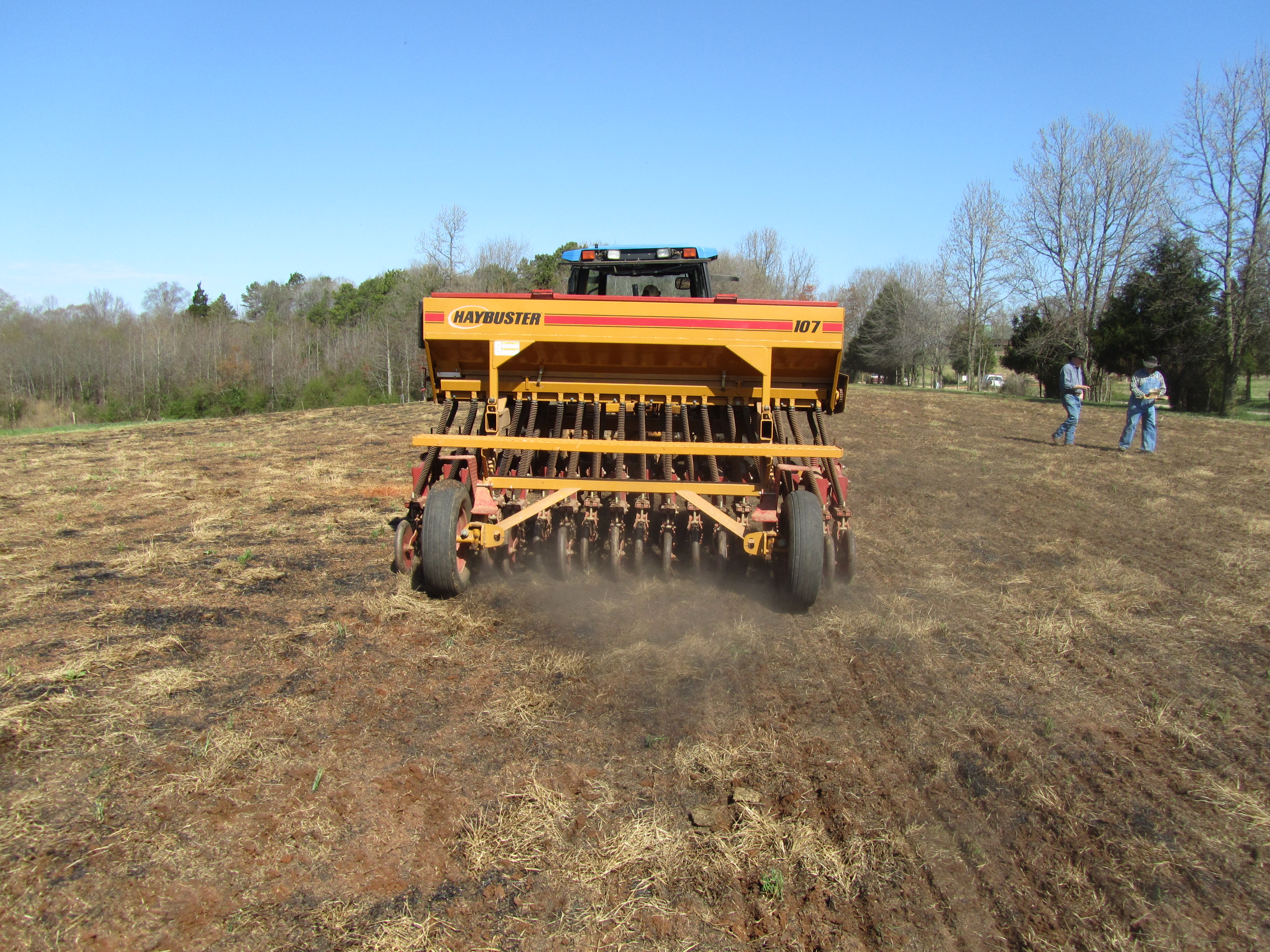 Alfalfa planter seeding field